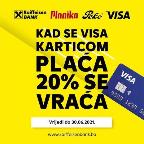 Raiffeisen akcija: Kad se Visa karticom plaća 20% se vraća